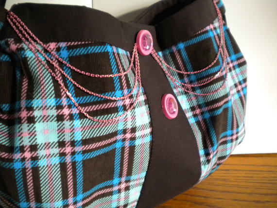 Turquoise, Pink and Brown Plaid Shoulder Bag- One L Barber Designs