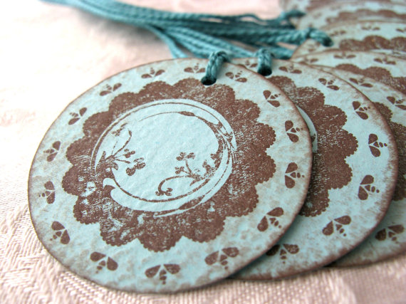 Set of 10 Turquoise and Brown Gift Tags- My Card Cupboard