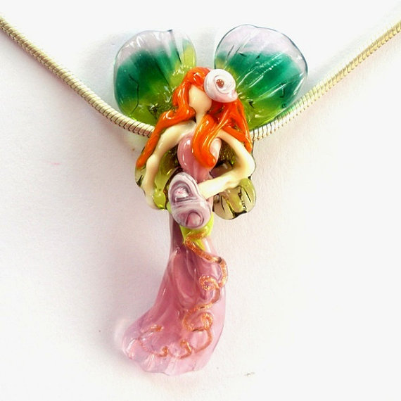 Ginger Hair Fairy Lampwork Bead by RG Glass #jewelry #lampwork