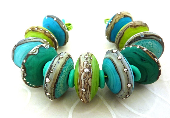 Minty Fresh Discs- by Lush Lampwork #jewelry #beads