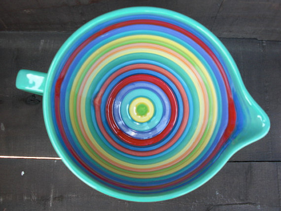 Rainbow Ceramic Batter Bowl by In a Glaze #etsy #ceramics
