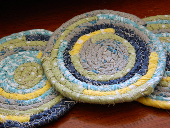 Fabric Coiled Coasters #etsy #fabric