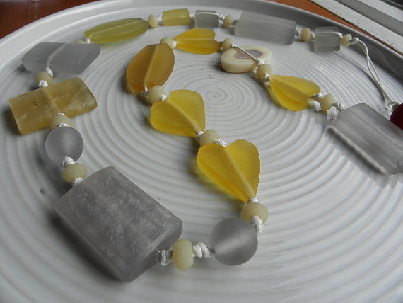 Yellow and Gray Resin Necklace #etsy #jewelry #resin