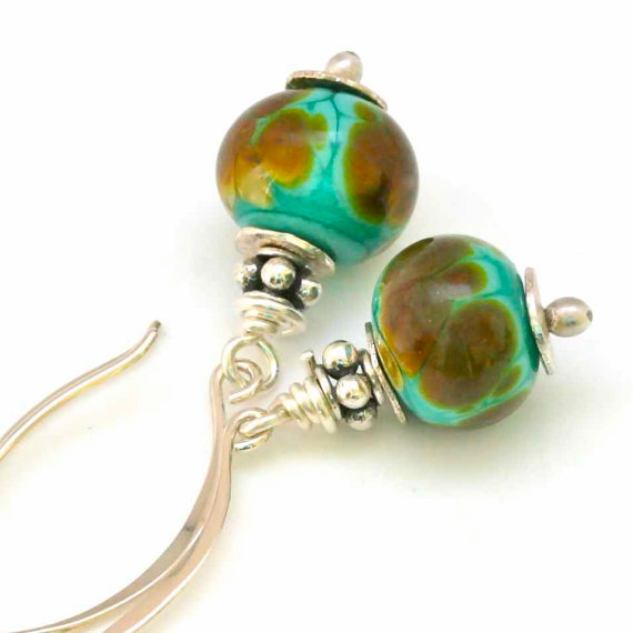 Beaded Earrings in Turquoise and Raku Brown- Helen's Adornments
