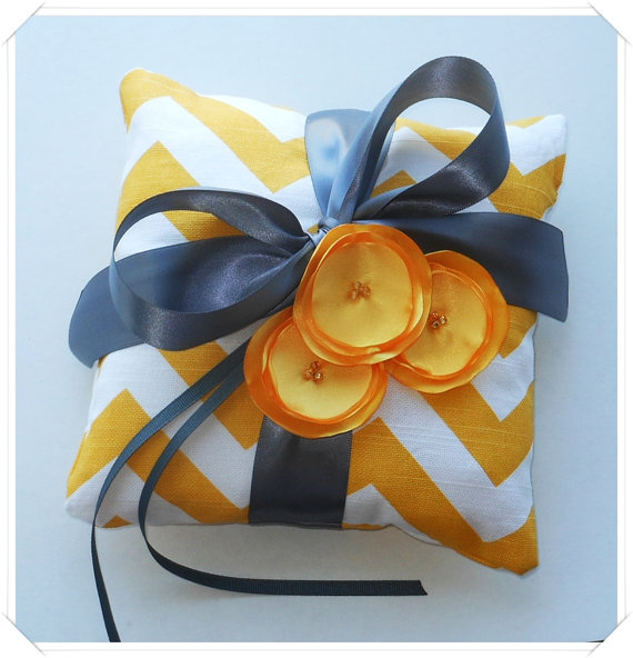 Yellow Chevron Ringbearer Pillow #etsy #weddings #pillow