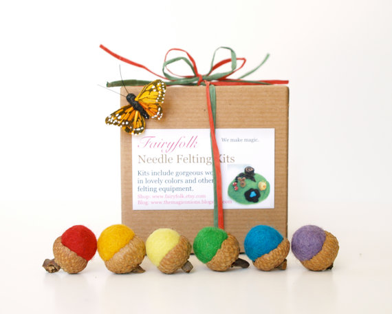 Rainbow Felted Acorns by Fairy Folk/Suzys Artsy Craftsy Sitcom #etsy