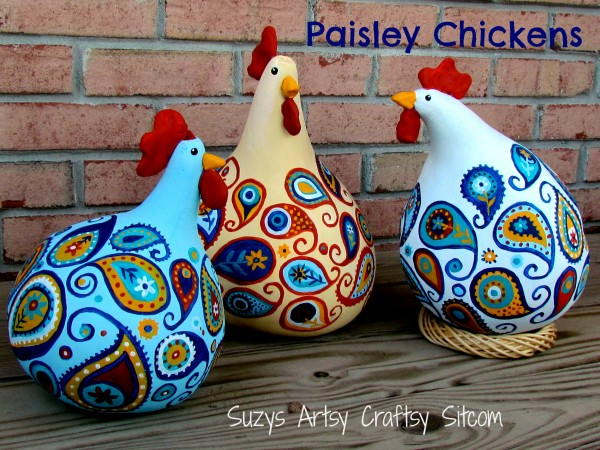 paisley chickens gourd art