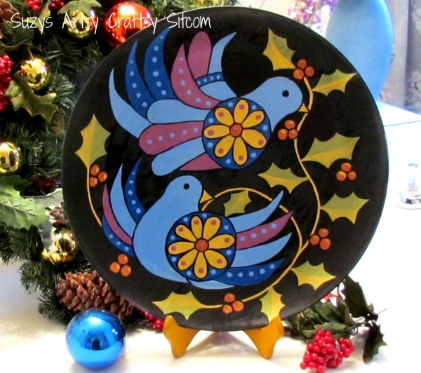 two turtle doves painted plate