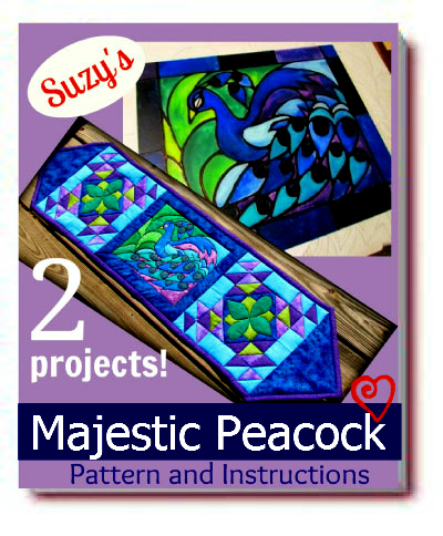 Majestic Peacock eBook Pattern #faux stained glass #pattern #quilting