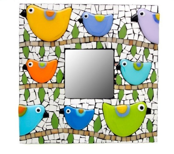 Mosaic Bird Mirror by Raquels Birds #Etsy