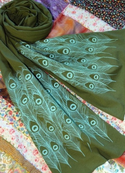Screen Printed Peacock Scarf by Michelle Brusgaarde #Etsy