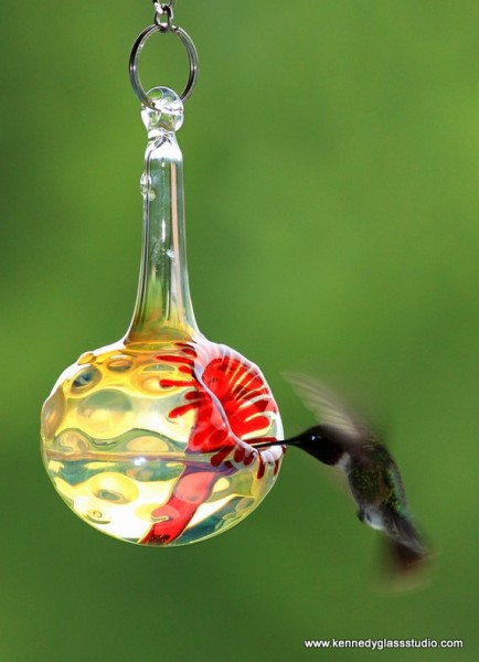 Kennedy Style Hummingbird Feeder by Kennedy Glass Studio #Etsy