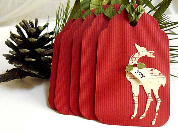 Reindeer Christmas Gift Tags by Mari Designs #Etsy