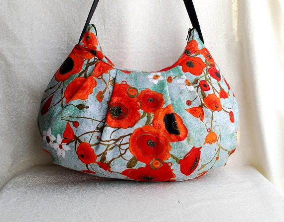 Poppies and Teal Shoulder Bag by Lireca #Etsy