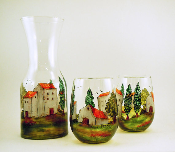 Village Provencal Handpainted Carafe Set by Les Creations de Florence #Etsy