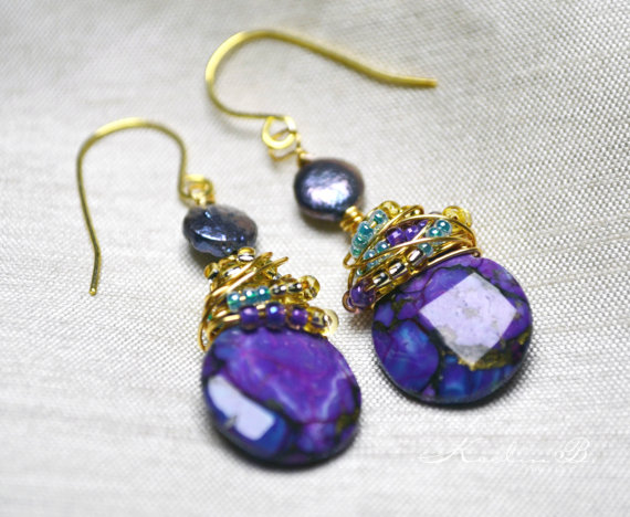Purple Turquoise Earrings by Keelin B. Jewelry featured at Suzys Artsy Craftsy Sitcom