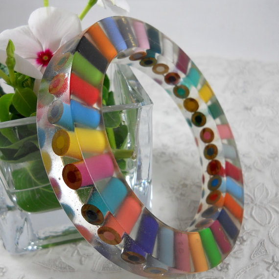 Colored Pencil Resin Bracelet by Mice Art #Etsy