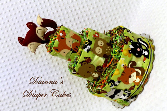 Woodland Animals Diaper Cake by Dianna's Diaper Cakes #Etsy