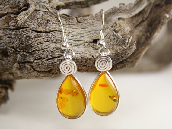 Amber Teardrop Earrings by Arizona Wired Elegance #Etsy