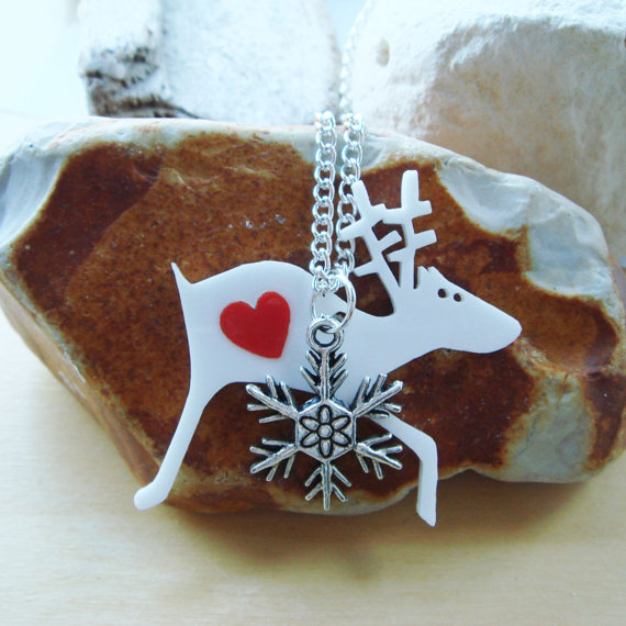 Alan the Christmas Reindeer Necklace by Big Bad Wolf Designs #Etsy