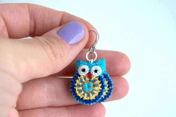 Crocheted Owl Earrings by Miki Jensen #Etsy