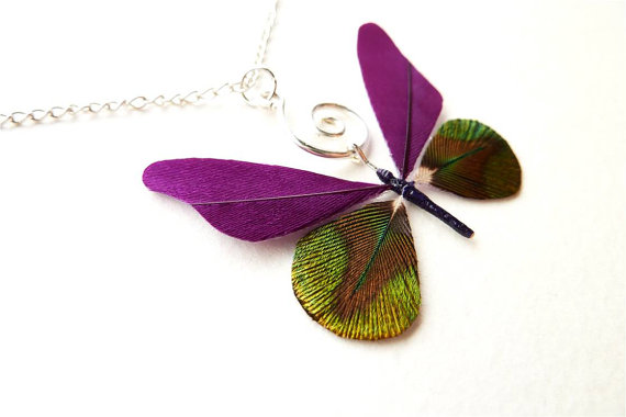 Feather Butterfly Pendant by Little Amber #Etsy