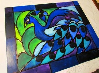 Faux Stained Glass Peacock #pattern