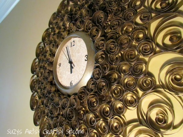 faux brass wall clock created from recycled toilet paper tubes