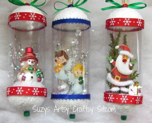 Vintage Snowglobe Ornaments / Suzys Artsy Craftsy Sitcom #Christmas