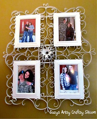 faux metal filigree frame created from recycled toilet paper tubes