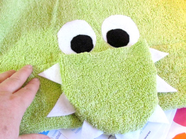 learn to sew dinosaur hooded towel