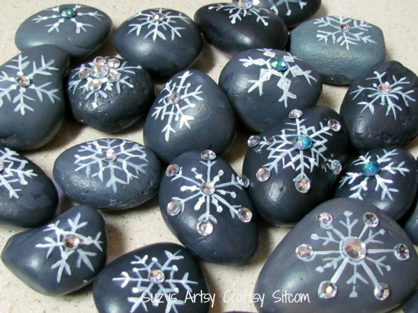 snowflake river rocks craft with bling6