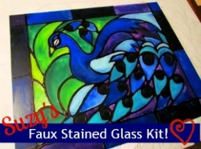 majestic peacock faux stained glass kit