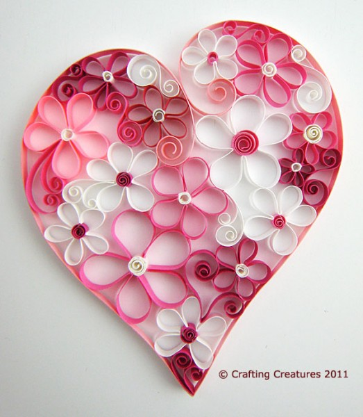 quilled heart and flowers by crafting creatures