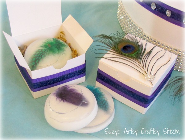 diy wedding - peacock wedding favors soap gift box