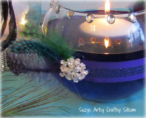 diy wedding floating candle votive peacock theme