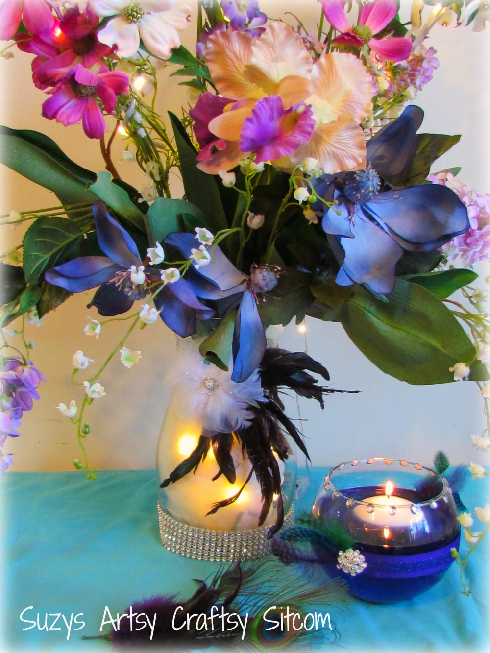 DIY Wedding Floral Centerpiece And Floating Candle Votives