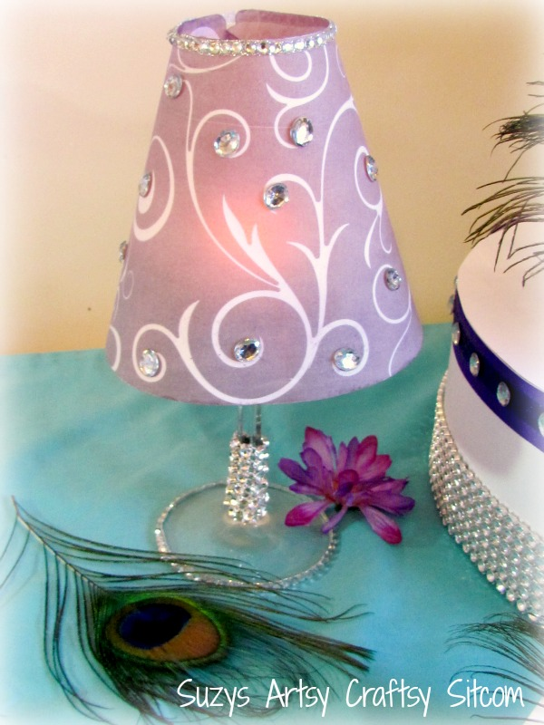 Diy wedding tea light table lamp with bling for Wine glass lamp centerpiece