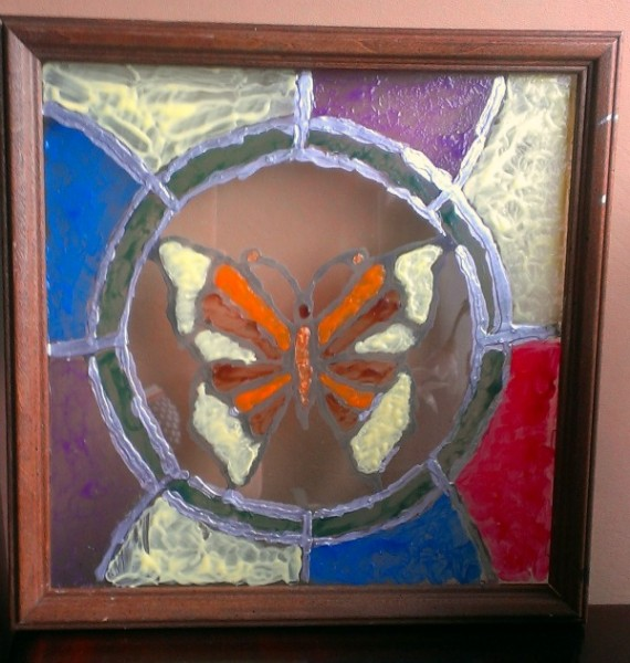 faux stained glass butterfly