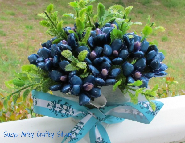 vintage bouquet blue made from seeds