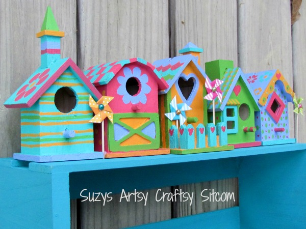 colorful birdhouse shelf