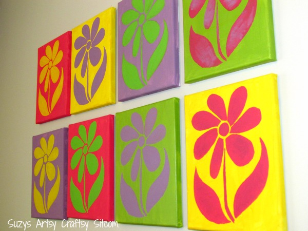 stenciled wall art flowers, diy wall art