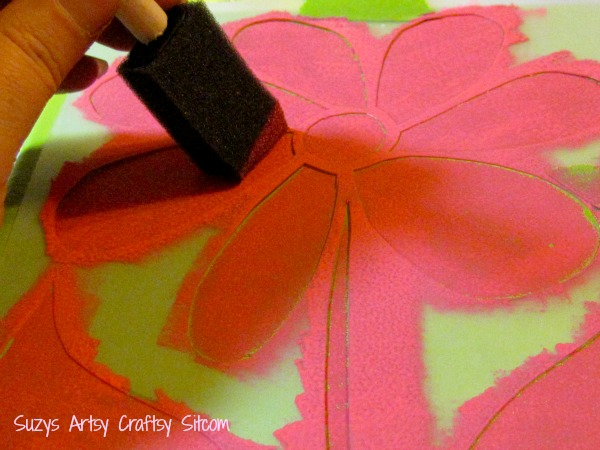stenciled flower wall art