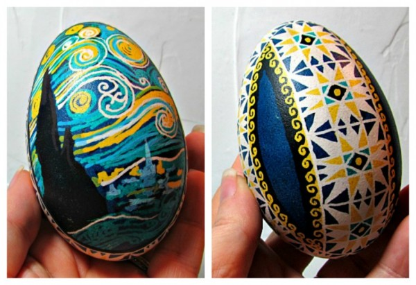 starry night ukrainian egg