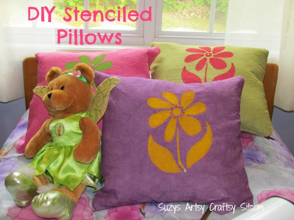 diy stenciled flower pillows