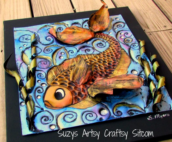 enchanted fish pattern embossed metal art