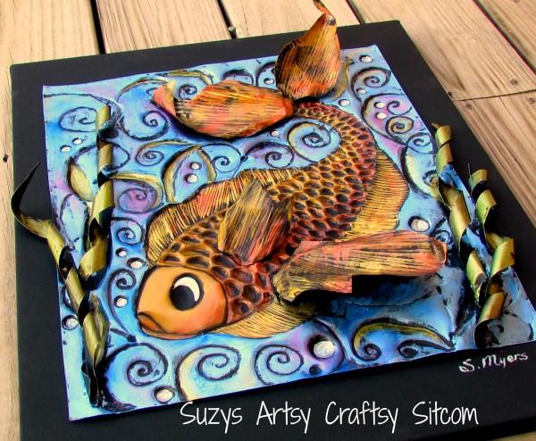 enchanted fish pattern embossed metal art