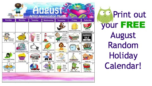 Daily Holiday Blog August Random Holiday Calendar Is Available