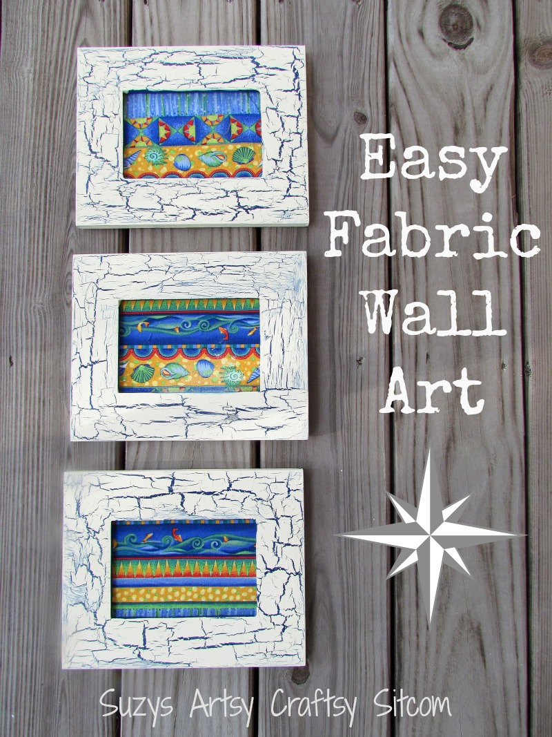 Fabric wall art with crackle finish frames for Fabric wall art