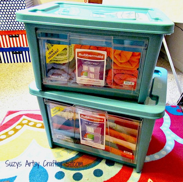 organize the craft room with rubbermaid storage